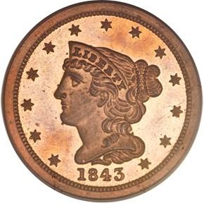1843 ORIGINAL 1/2C PF obverse