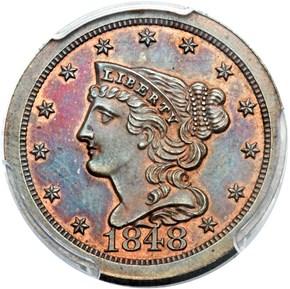1848 ORIGINAL 1/2C PF obverse