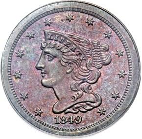 1849 SM DATE ORIGINAL 1/2C PF obverse
