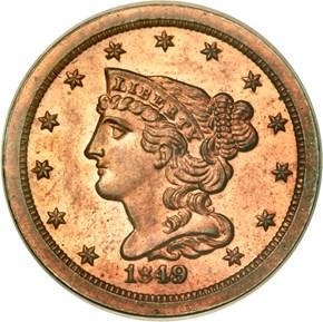 1849 SM DATE RESTRIKE 1/2C PF obverse