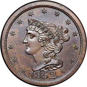 1852 RESTRIKE 1/2C PF obverse