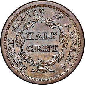 1852 RESTRIKE 1/2C PF reverse
