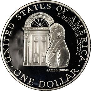 1992 W WHITE HOUSE BICENTENNIAL S$1 PF reverse