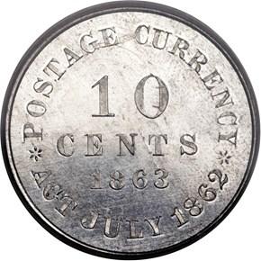 1863 J-327 10C PF reverse