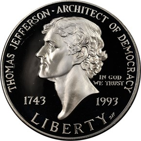 1993 S THOMAS JEFFERSON S$1 PF obverse