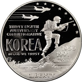 1991 P KOREAN WAR S$1 PF obverse