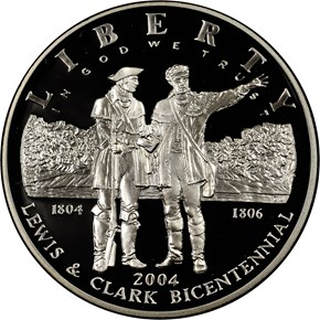 2004 P LEWIS & CLARK S$1 PF obverse