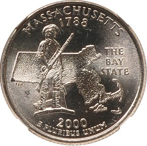 2000 P MASSACHUSETTS 25C MS reverse