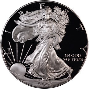2000 P EAGLE S$1 PF obverse