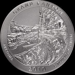 2010 5oz SILVER GRAND CANYON 25C MS reverse