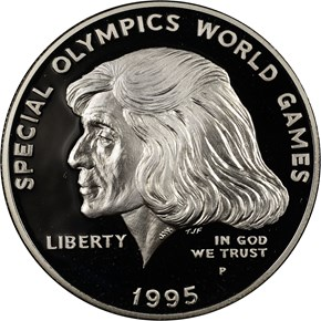 1995 P SPECIAL OLYMPICS S$1 PF obverse