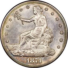 1874 S T$1 MS obverse