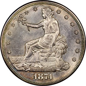 1874 S T$1 MS obverse