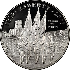 2002 W WEST POINT S$1 PF obverse