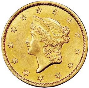 1849 OPEN WREATH G$1 MS obverse