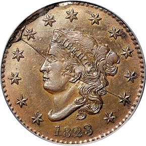 1823 COPPER RESTRIKE 1C MS obverse