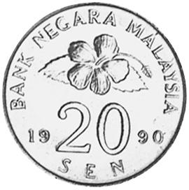 1989-2011 Malaysia 20 Sen obverse