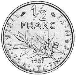 France 1/2 Franc reverse