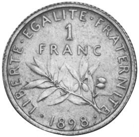 France Franc reverse