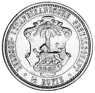 German East Africa 1/2 Rupie reverse
