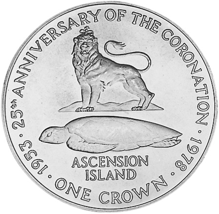 (1978) Ascension Island 25 Pence, Crown reverse