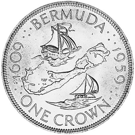 1959 Bermuda Crown reverse