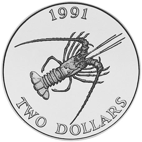 1991 Bermuda 2 Dollars reverse