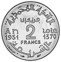 Morocco 2 Francs reverse