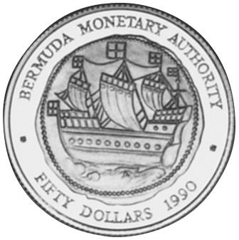 1990 Bermuda 50 Dollars reverse