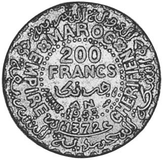 Morocco 200 Francs reverse