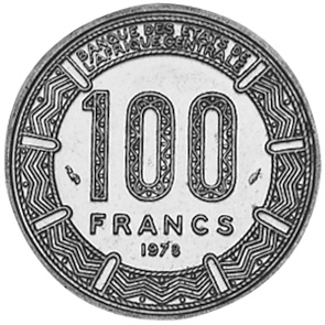 1978 Central African Republic 100 Francs reverse