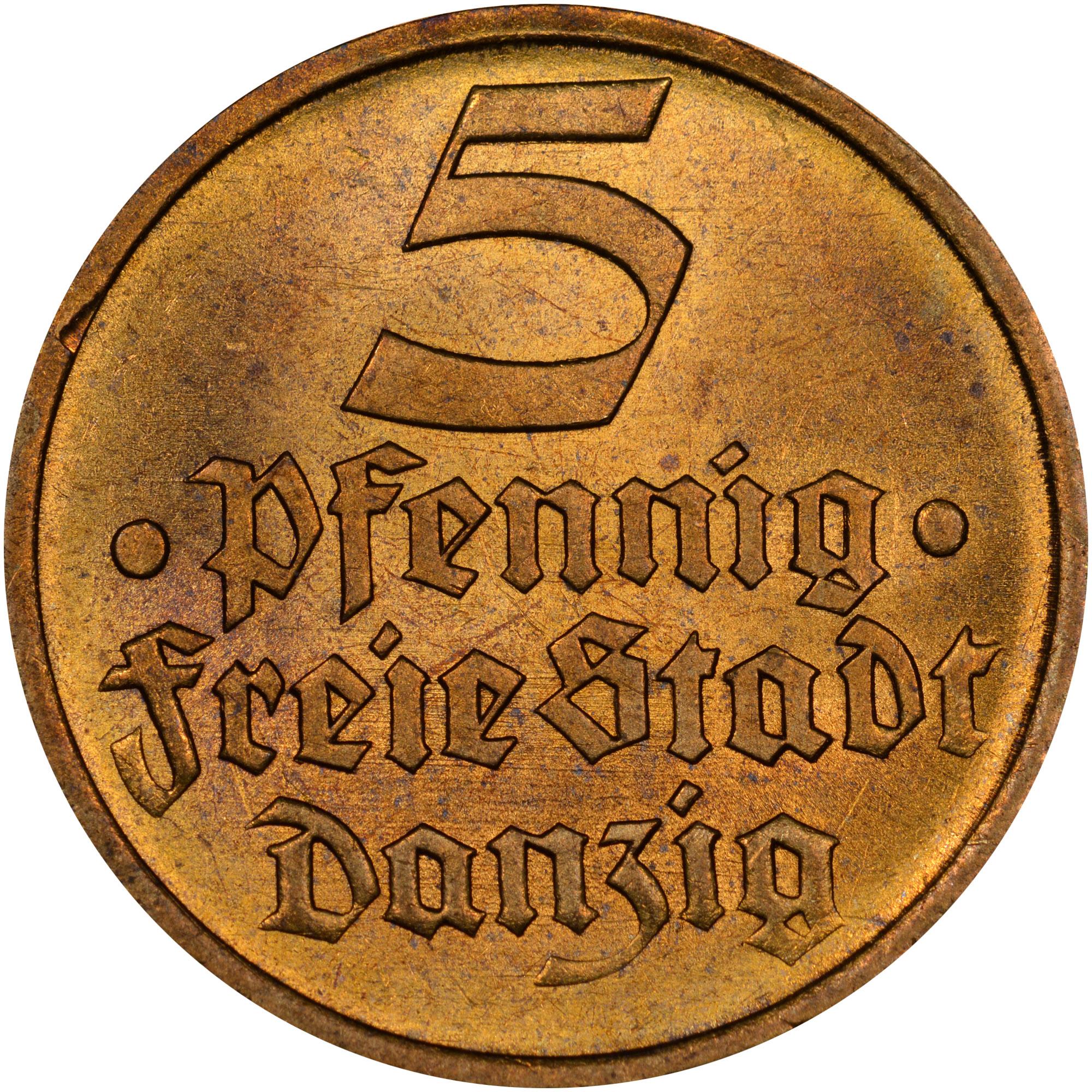 1932 Danzig 5 Pfennig obverse