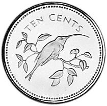 1974 Belize 10 Cents reverse