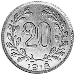 Austria 20 Heller reverse