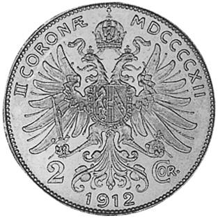 1912-1913 Austria 2 Corona reverse