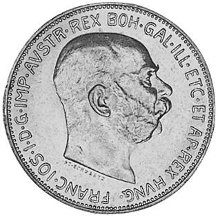 1912-1913 Austria 2 Corona obverse