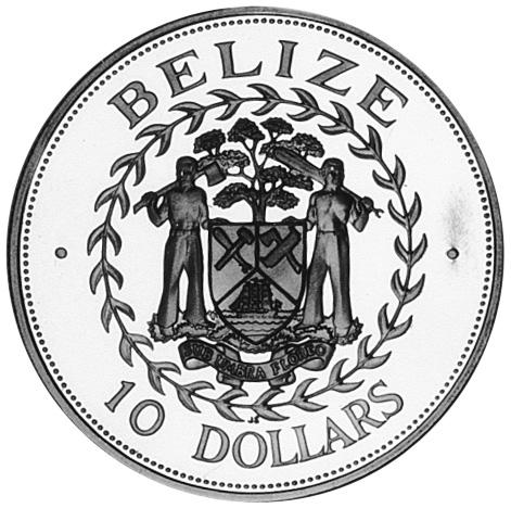 1992 Belize 10 Dollars obverse