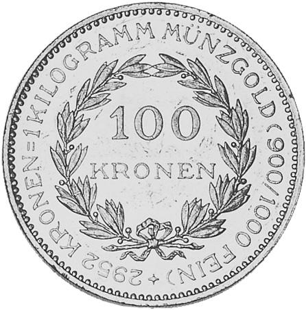 1923-1924 Austria 100 Kronen reverse