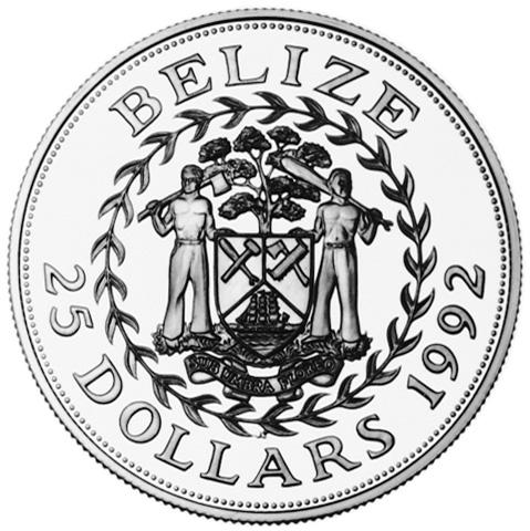 Belize 25 Dollars obverse
