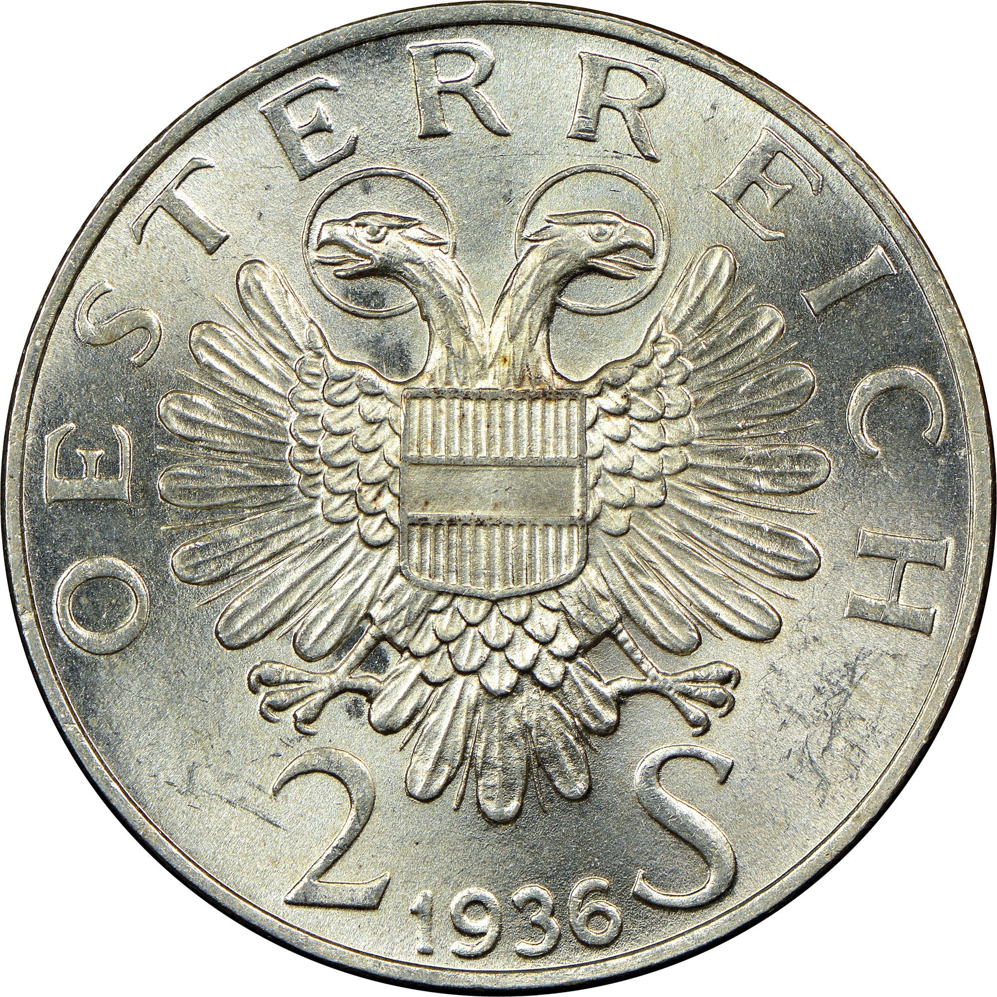 1936 Austria 2 Schilling obverse