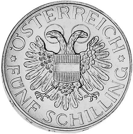 1934-1936 Austria 5 Schilling obverse