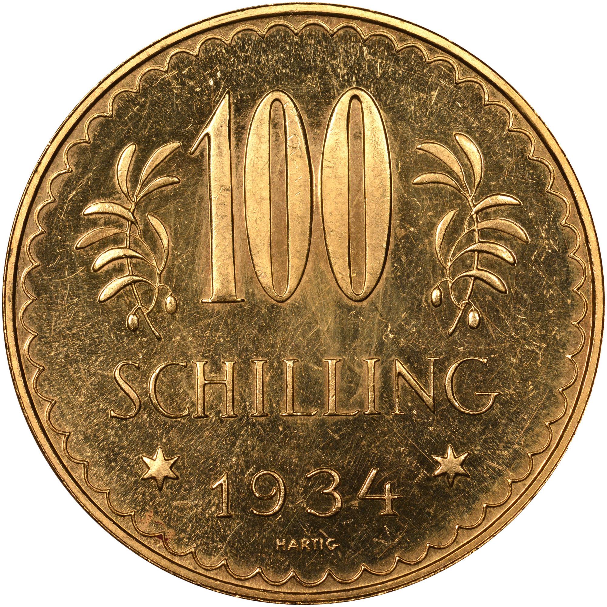 1926-1934 Austria 100 Schilling reverse