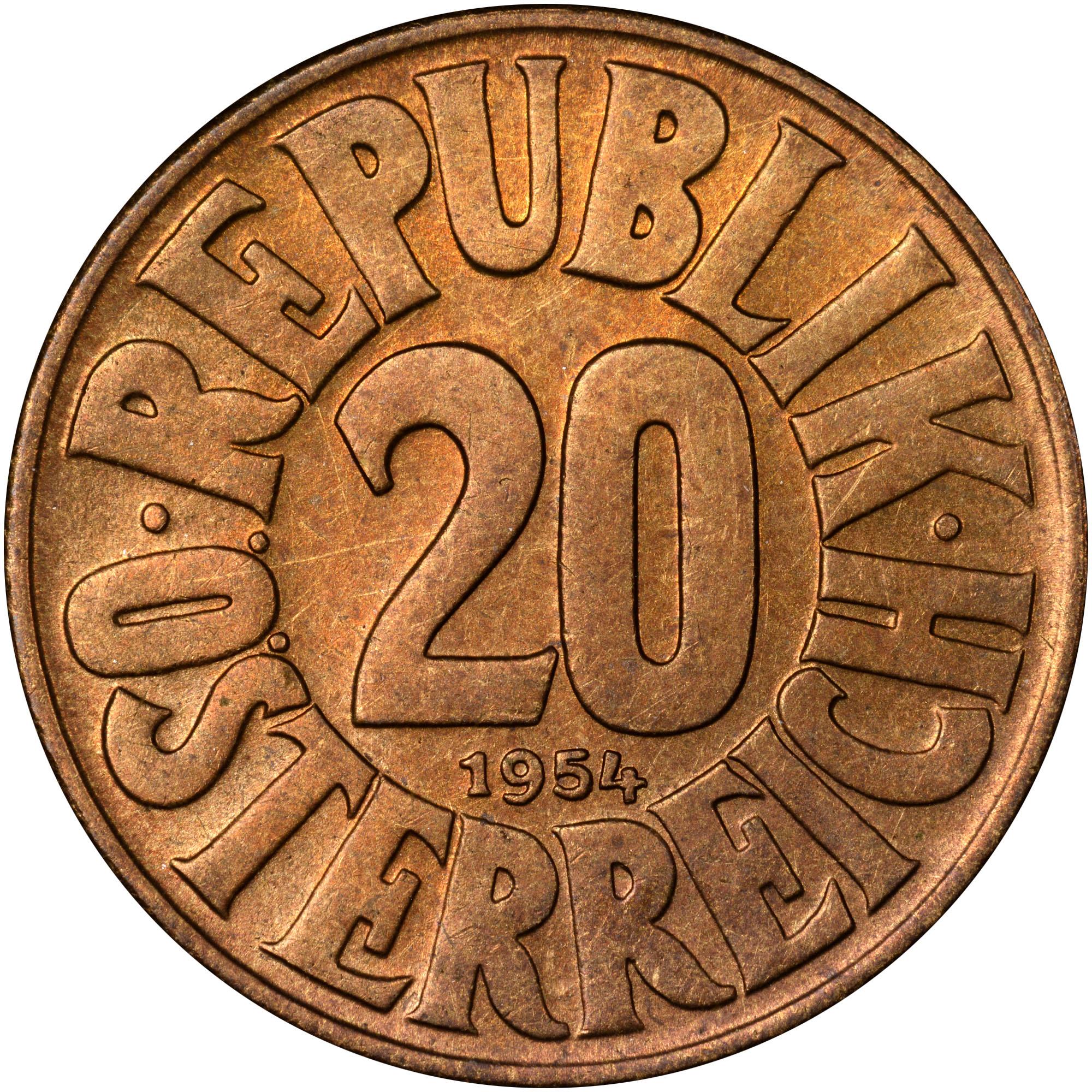 Austria 20 Groschen reverse