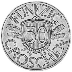1946-1955 Austria 50 Groschen reverse