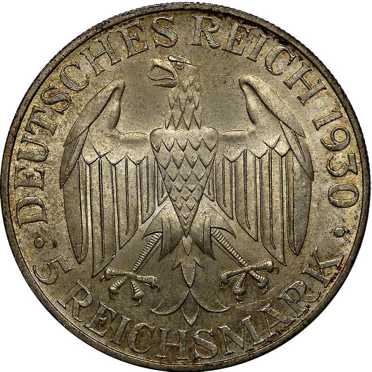 Germany - Weimar Republic 5 Reichsmark reverse