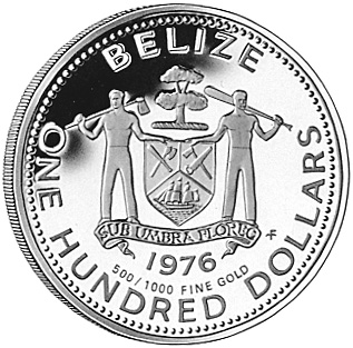 1976 Belize 100 Dollars obverse