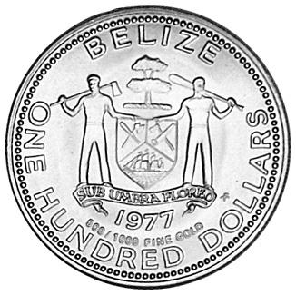 1977 Belize 100 Dollars obverse