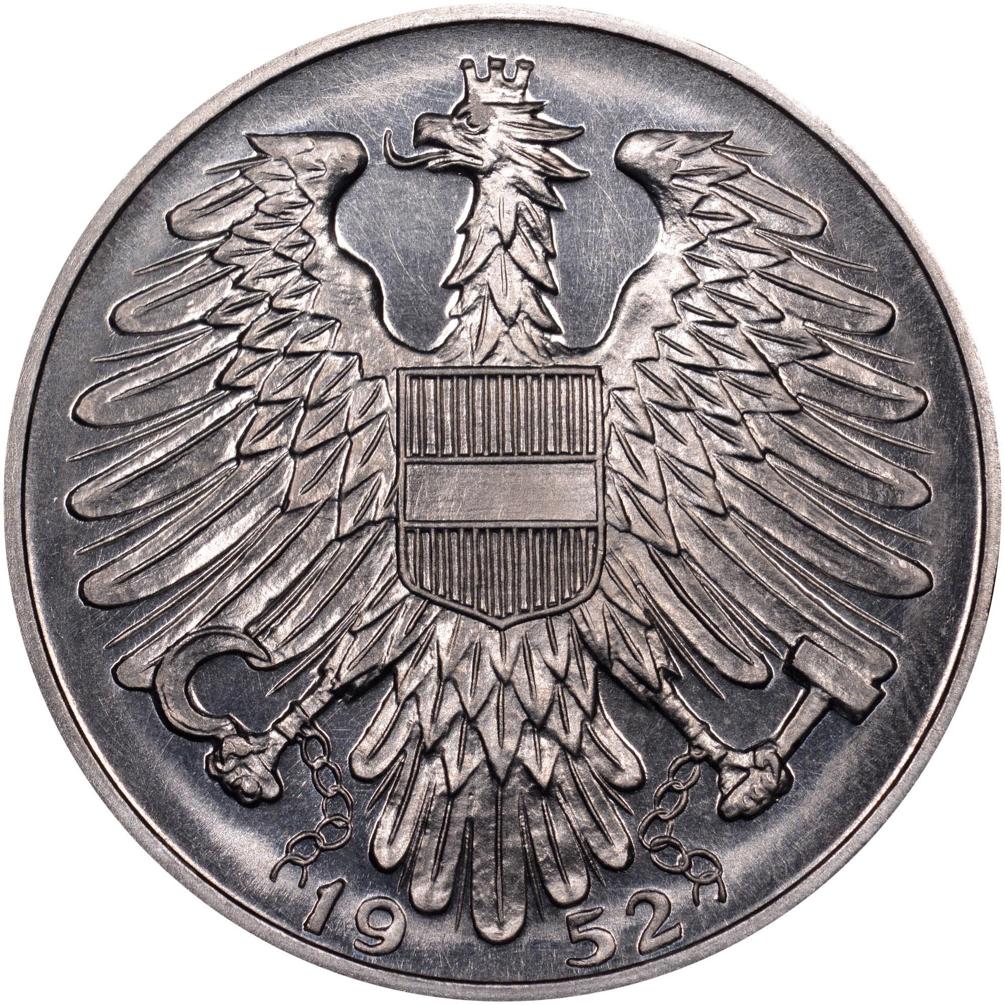 1952-1957 Austria 5 Schilling reverse