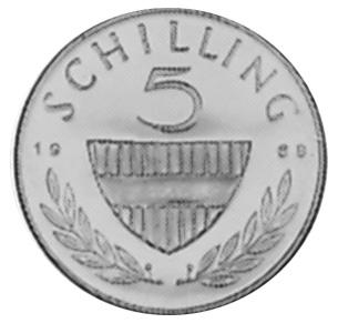 1960-1968 Austria 5 Schilling reverse