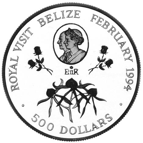 1994 Belize 500 Dollars reverse